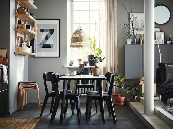 LISABO Tisch, schwarz, 140x78 cm
