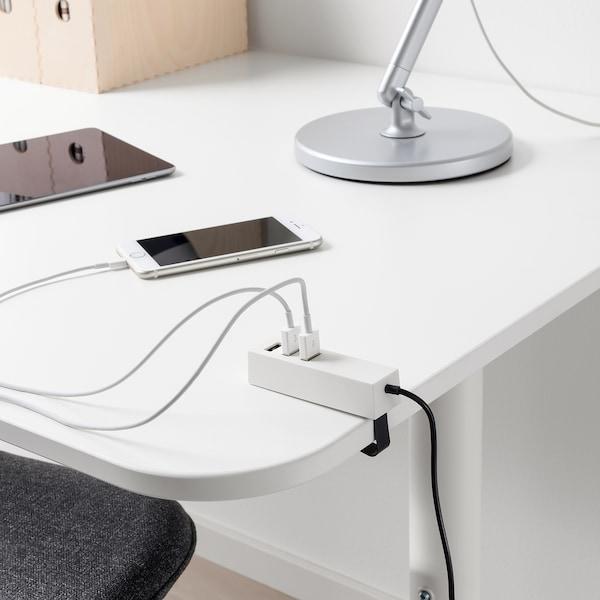 LÖRBY USB-Ladegerät mit Klammer, weiß