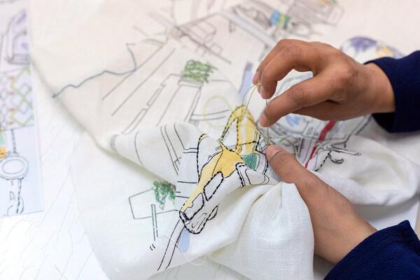 LOKALT Kissenbezug, weiß gelb/Handarbeit, 50x50 cm