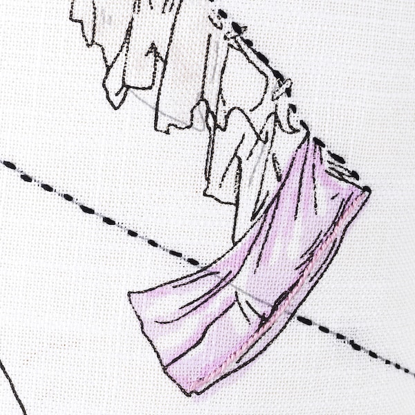LOKALT Kissenbezug, weiß rosa/Handarbeit, 50x50 cm