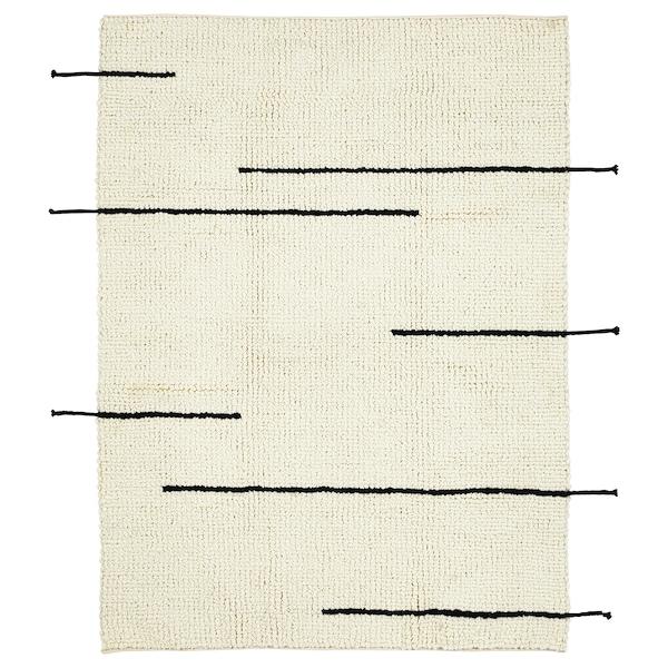 LOKALT Teppich, natur schwarz/Handarbeit, 133x195 cm
