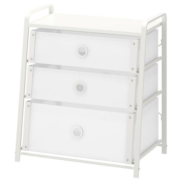 LOTE Kommode mit 3 Schubladen, weiß, 55x62 cm
