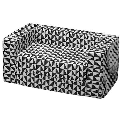 LURVIG Bett mit Bezug für Katze/Hund, schwarz/weiß, 68x70 cm
