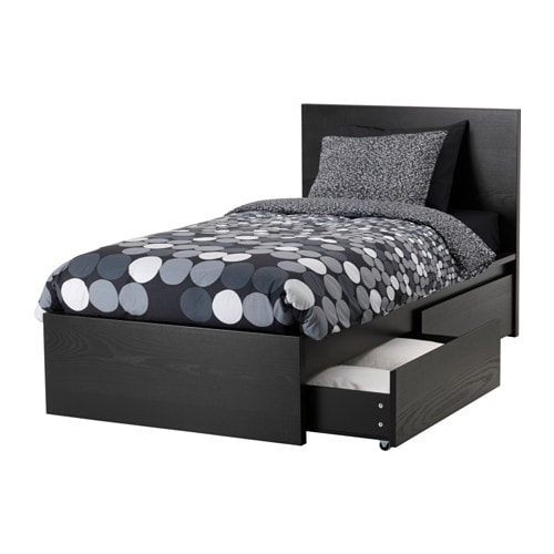 malm bettgestell hoch mit 2 schubk sten lur y schwarzbraun ikea. Black Bedroom Furniture Sets. Home Design Ideas