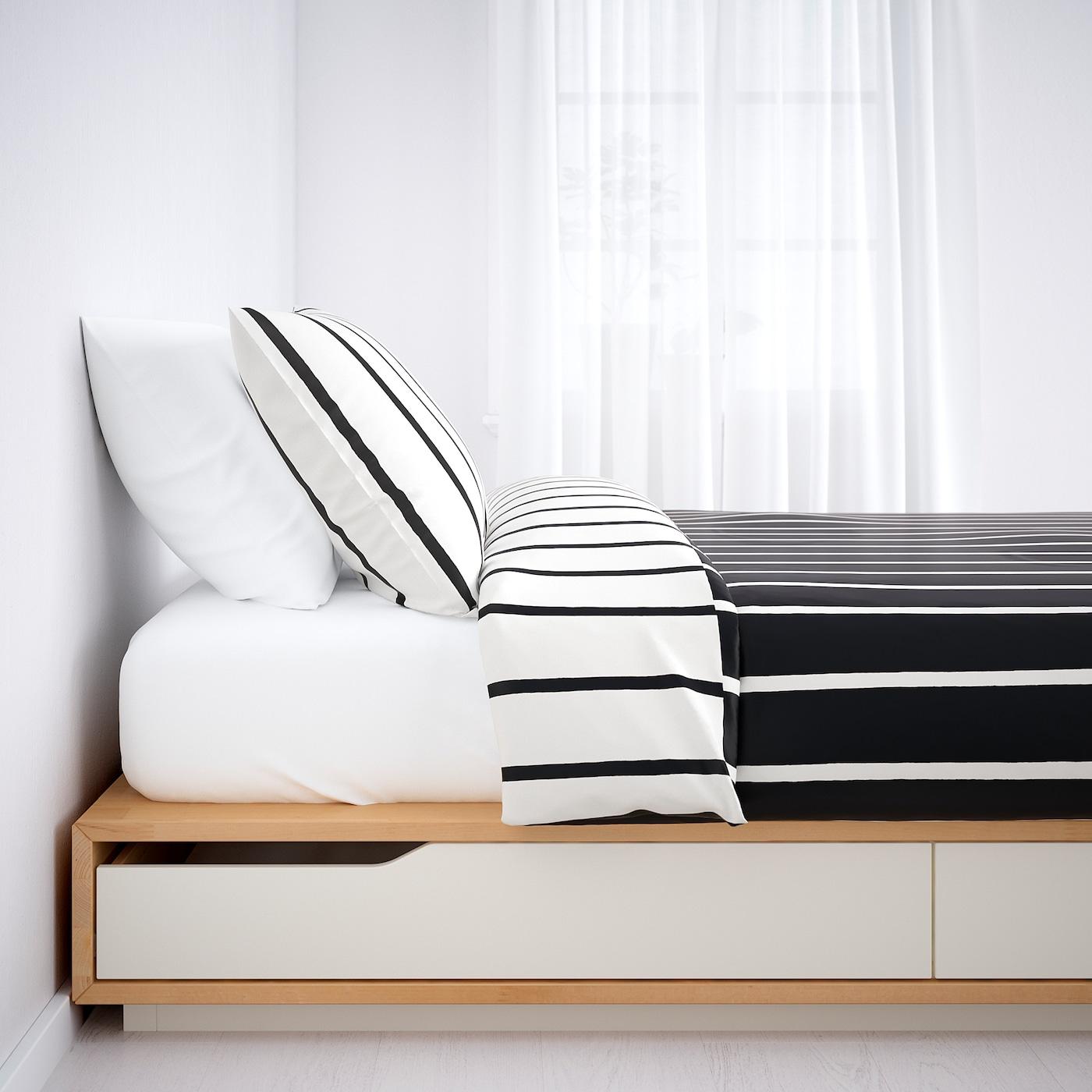 MANDAL Bettgestell mit Schubladen   Birke/weiß 12x12 cm