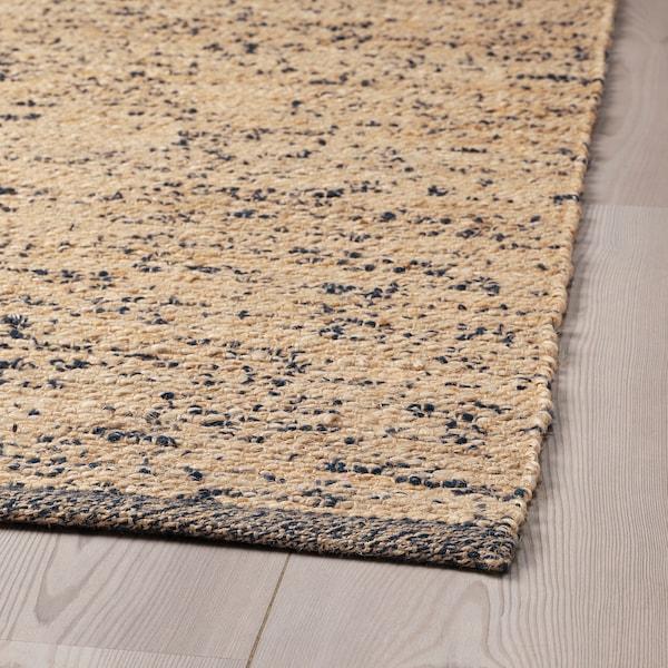 MELHOLT Teppich flach gewebt Handarbeit natur/dunkelblau 195 cm 133 cm 5 mm 2.59 m² 2200 g/m²