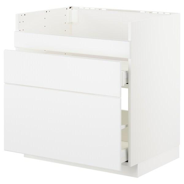 METOD Uschr. f HAVSEN Spüle/3 Fro/3 Schub weiß Maximera/Kungsbacka matt weiß 80.0 cm 61.6 cm 88.0 cm 60.0 cm 80.0 cm