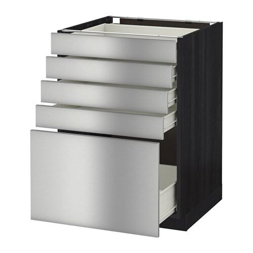 metod f rvara unterschrank mit 5 schubladen holzeffekt schwarz grevsta edelstahl 60x60 cm. Black Bedroom Furniture Sets. Home Design Ideas