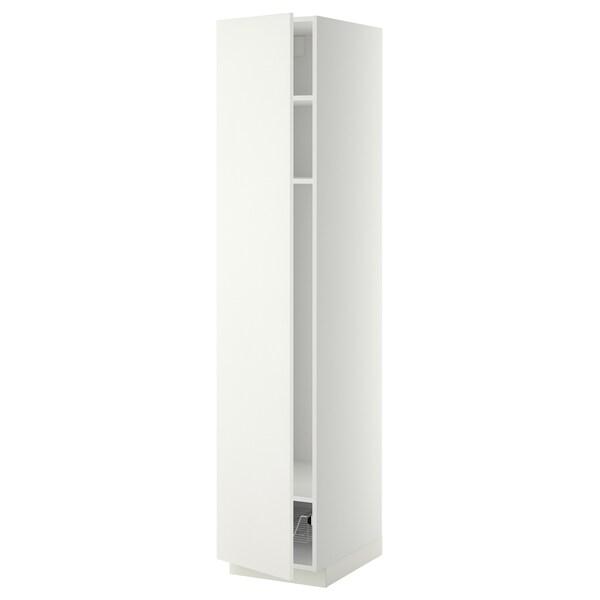 METOD Hochschrank mit Böden/Drahtkorb weiß/Häggeby weiß 40.0 cm 61.6 cm 208.0 cm 60.0 cm 200.0 cm