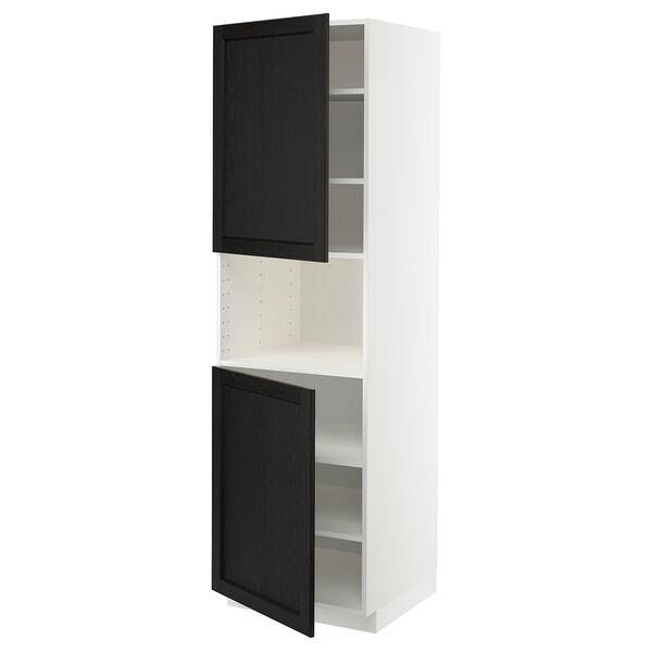 METOD Hochschr. f Mikrow.+2Türen/Bö, weiß/Lerhyttan schwarz lasiert, 60x60x200 cm