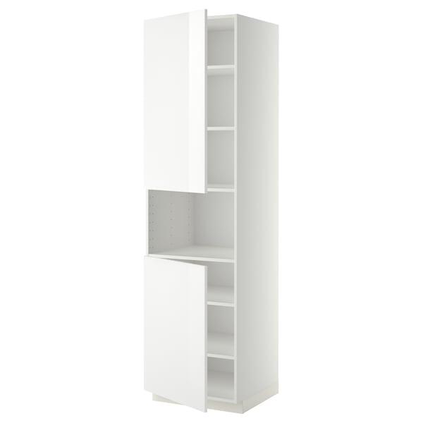METOD Hochschr. f Mikrow.+2Türen/Bö, weiß/Ringhult weiß, 60x60x220 cm