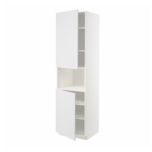 METOD Hochschr. f Mikrow.+2Türen/Bö, weiß/Stensund weiß, 60x60x220 cm