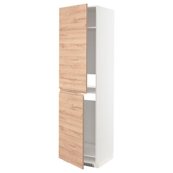 METOD Hochschrank f Kühl-/Gefrierschrank, weiß/Voxtorp Eichenachbildung, 60x60x220 cm