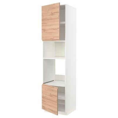 METOD HS f Ofen/Mikro m 2 Türen/Böden, weiß/Voxtorp Eichenachbildung, 60x60x240 cm