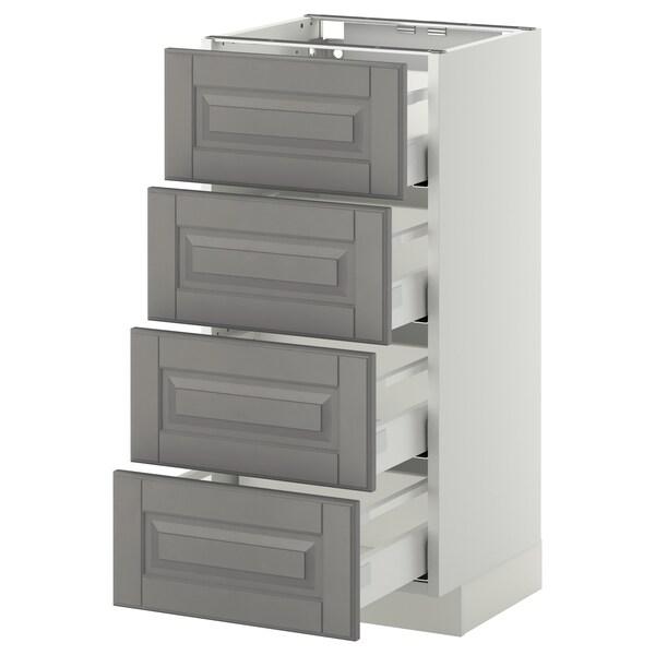 METOD / MAXIMERA Unterschr., 4 Fronten/4 Schubladen weiß/Bodbyn grau 40.0 cm 39.5 cm 88.0 cm 37.0 cm 80.0 cm