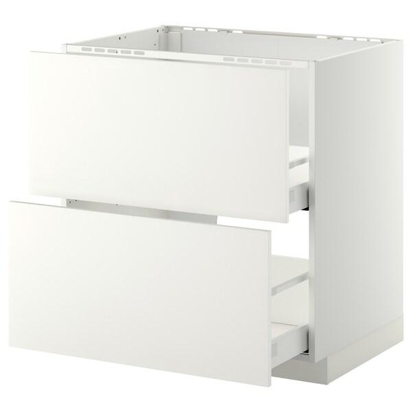 METOD / MAXIMERA Unterschr. f Spüle/2 Fronten/2Sch. weiß/Häggeby weiß 80.0 cm 61.6 cm 88.0 cm 60.0 cm 80.0 cm