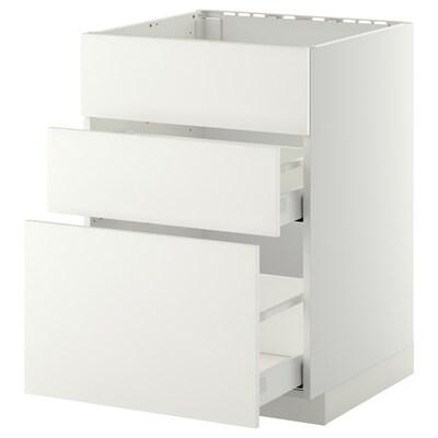 METOD / MAXIMERA Unterschr. f Spüle/3 Fronten/2Sch. weiß/Häggeby weiß 60.0 cm 61.6 cm 88.0 cm 60.0 cm 80.0 cm