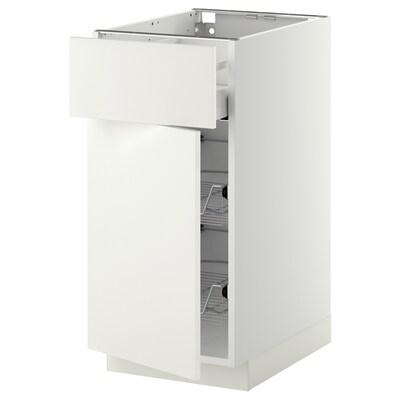 METOD / MAXIMERA Unterschrank mit Drahtkorb/Tür weiß/Häggeby weiß 40.0 cm 61.6 cm 88.0 cm 60.0 cm 80.0 cm