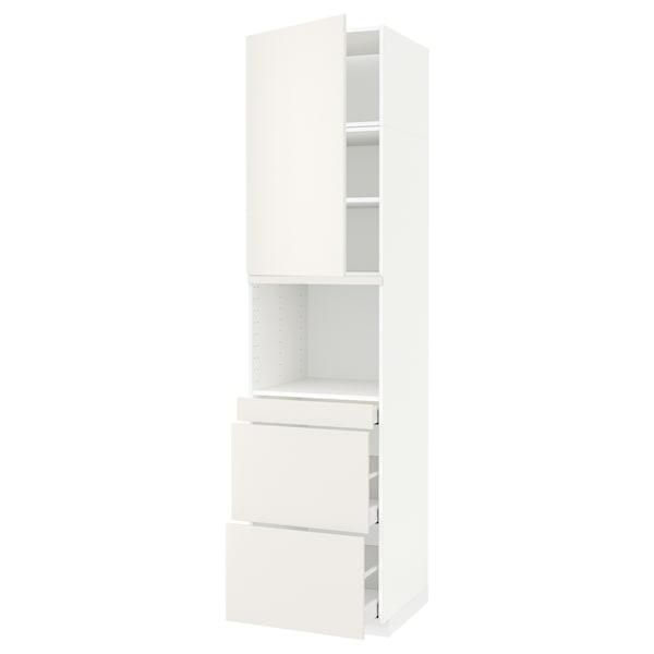 METOD / MAXIMERA HS f Kombimikro m Tür/3 Schub weiß/Veddinge weiß 60.0 cm 61.6 cm 248.0 cm 60.0 cm 240.0 cm