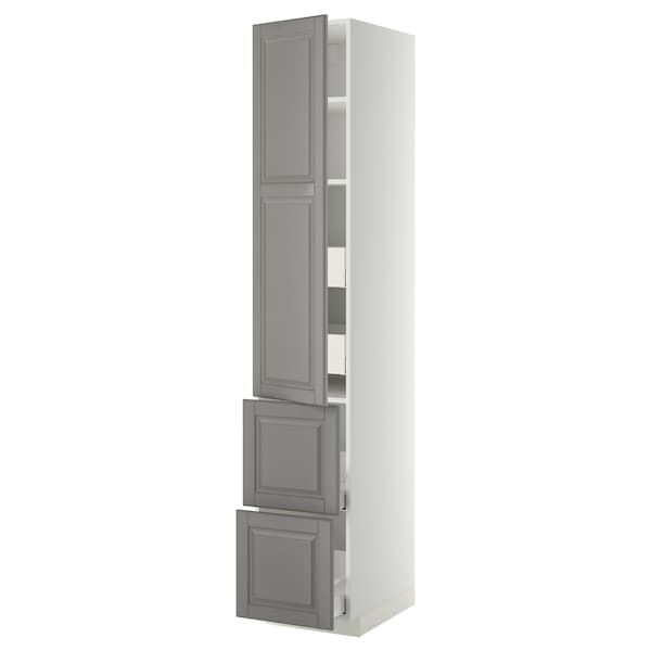 METOD / MAXIMERA Hochschr. Böd/4 Schubl./Tür/2 Fro weiß/Bodbyn grau 40.0 cm 61.9 cm 228.0 cm 60.0 cm 220.0 cm