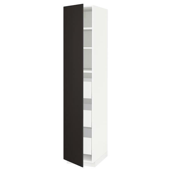 METOD / MAXIMERA Hochschrank m Schubladen, weiß/Kungsbacka anthrazit, 40x60x200 cm