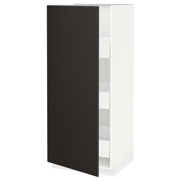 METOD / MAXIMERA Hochschrank m Schubladen, weiß/Kungsbacka anthrazit, 60x60x140 cm