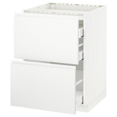 METOD / MAXIMERA Unterschr.f Kochf/2 Fronten/3 Sch., weiß/Voxtorp matt weiß, 60x60 cm