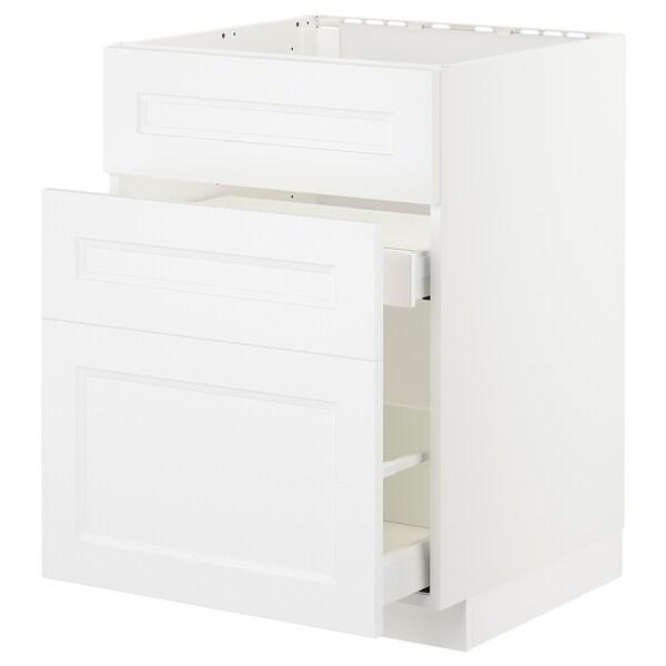 METOD / MAXIMERA Unterschr. f Spüle/3 Fronten/2Sch., weiß/Axstad matt weiß, 60x60 cm