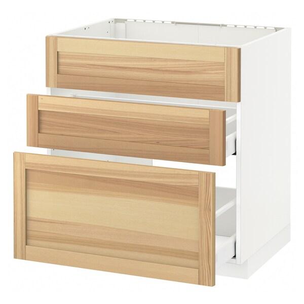 METOD / MAXIMERA Unterschr. f Spüle/3 Fronten/2Sch., weiß/Torhamn Esche, 80x60 cm