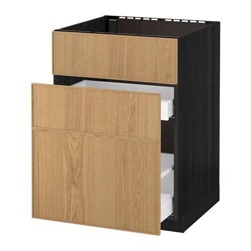 metod maximera unterschr f sp le 3 fronten 2sch holzeffekt schwarz ekestad eiche 60x60. Black Bedroom Furniture Sets. Home Design Ideas