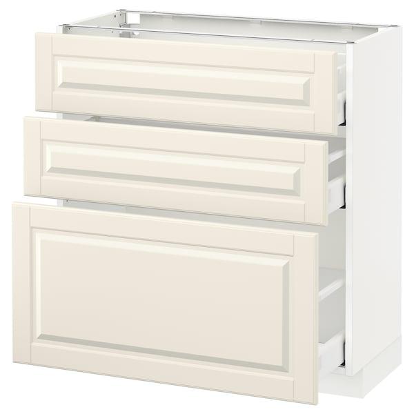 METOD / MAXIMERA Unterschrank mit 3 Schubladen, weiß/Bodbyn elfenbeinweiß, 80x37 cm