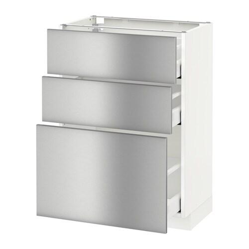 Vitrine Ikea Detolf Occasion ~  MAXIMERA Unterschrank mit 3 Schubladen  weiß, Grevsta Edelstahl