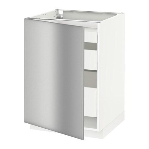 Vitrine Ikea Detolf Occasion ~ MAXIMERA Unterschrank mit Tür+3 Schubladen  weiß, Grevsta Edelstahl