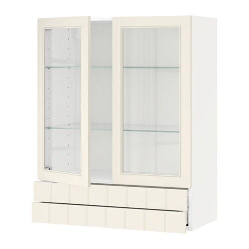 IKEA - Wandschrank mit 2 Glast?ren / 2 Schubladen, schwarz, Hittarp ...