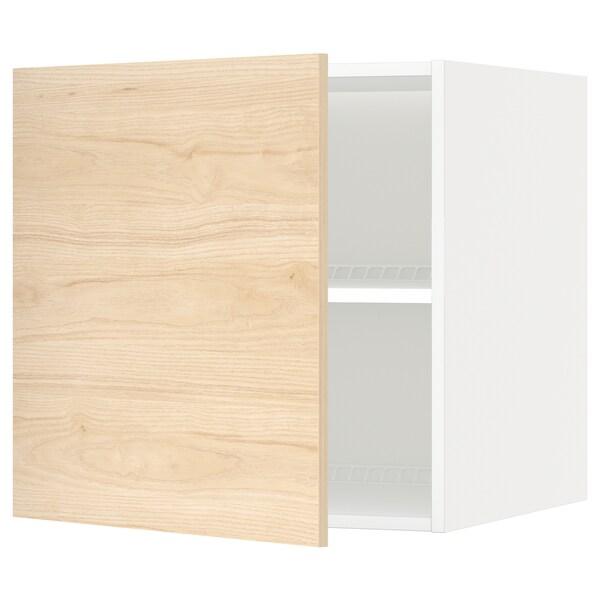 METOD Oberschr f Kühl-/Gefrierschrank, weiß/Askersund Eschenachbildung hell, 60x60 cm