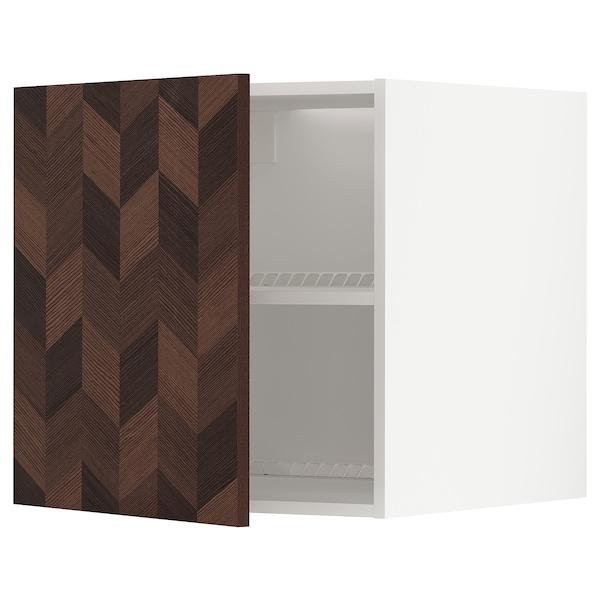 METOD Oberschr f Kühl-/Gefrierschrank, weiß Hasslarp/braun gemustert, 60x60 cm