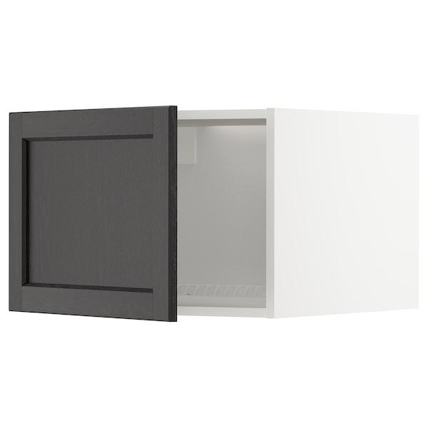 METOD Oberschr f Kühl-/Gefrierschrank, weiß/Lerhyttan schwarz lasiert, 60x40 cm
