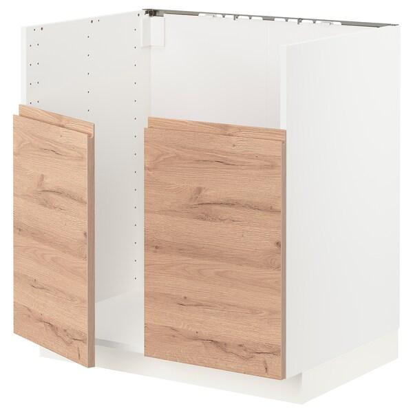 METOD Unterschr f BREDSJÖN Spüle 2 Becken, weiß/Voxtorp Eichenachbildung, 80x60 cm