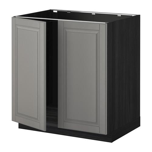 Ikea Värde Unterschrank Spüle ~ METOD Unterschrank für Spüle + 2 Türen  Holzeffekt schwarz, Bodbyn