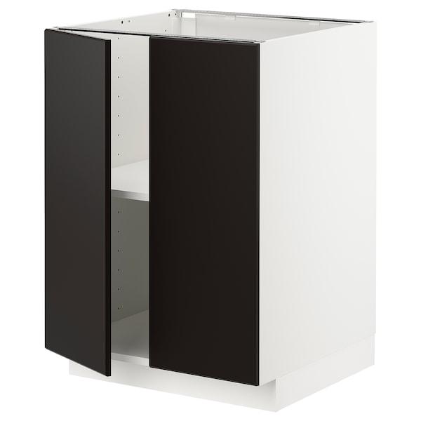 METOD Unterschrank m Böden/2Türen, weiß/Kungsbacka anthrazit, 60x60 cm