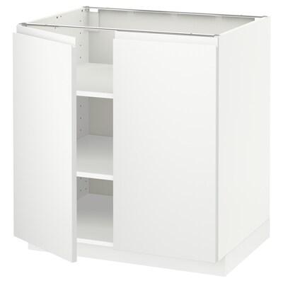 METOD Unterschrank m Böden/2Türen, weiß/Voxtorp matt weiß, 80x60 cm