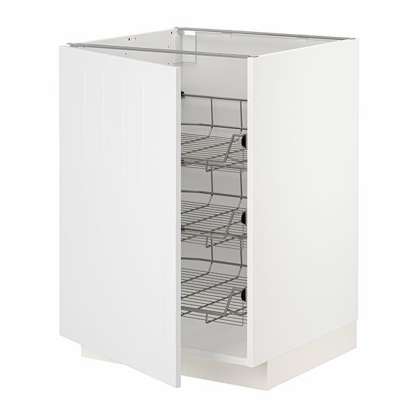 METOD Unterschrank mit Drahtkörben, weiß/Stensund weiß, 60x60 cm