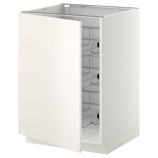 METOD Unterschrank mit Drahtkörben, weiß/Veddinge weiß, 60x60 cm