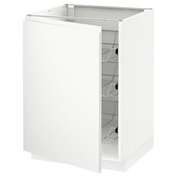 METOD Unterschrank mit Drahtkörben, weiß/Voxtorp matt weiß, 60x60 cm