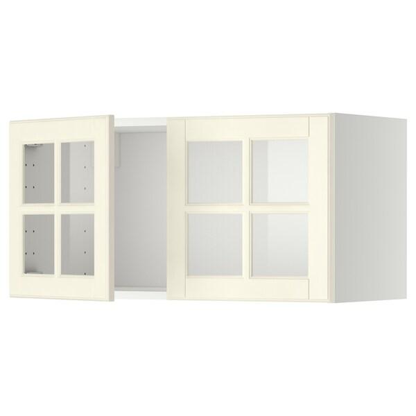 METOD Wandschrank mit 2 Vitrinentüren weiß/Bodbyn elfenbeinweiß 80.0 cm 38.9 cm 40.0 cm