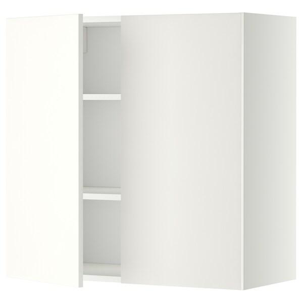 Wandschrank mit Böden und 2 Türen METOD weiß, Häggeby weiß