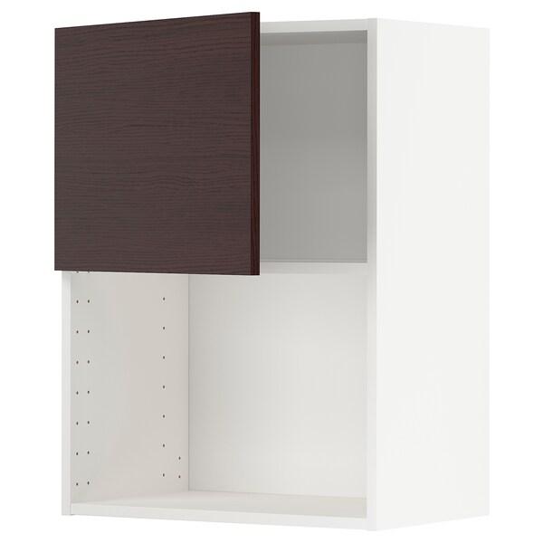 METOD Wandschrank für Mikrowellenherd, weiß Askersund/dunkelbraun Eschenachbildung, 60x80 cm