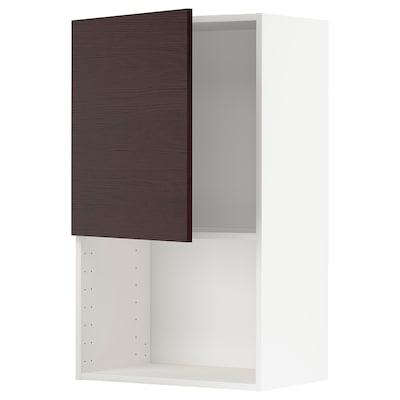 METOD Wandschrank für Mikrowellenherd, weiß Askersund/dunkelbraun Eschenachbildung, 60x100 cm