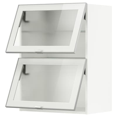 METOD Wandschrank horiz. m 2 Glastüren, weiß/Jutis Frostglas, 60x80 cm