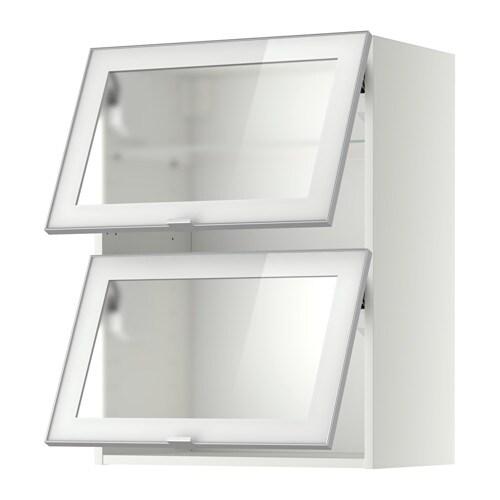 METOD Wandschrank horiz. m 2 Glastüren - Jutis Frostglas/Aluminium ...